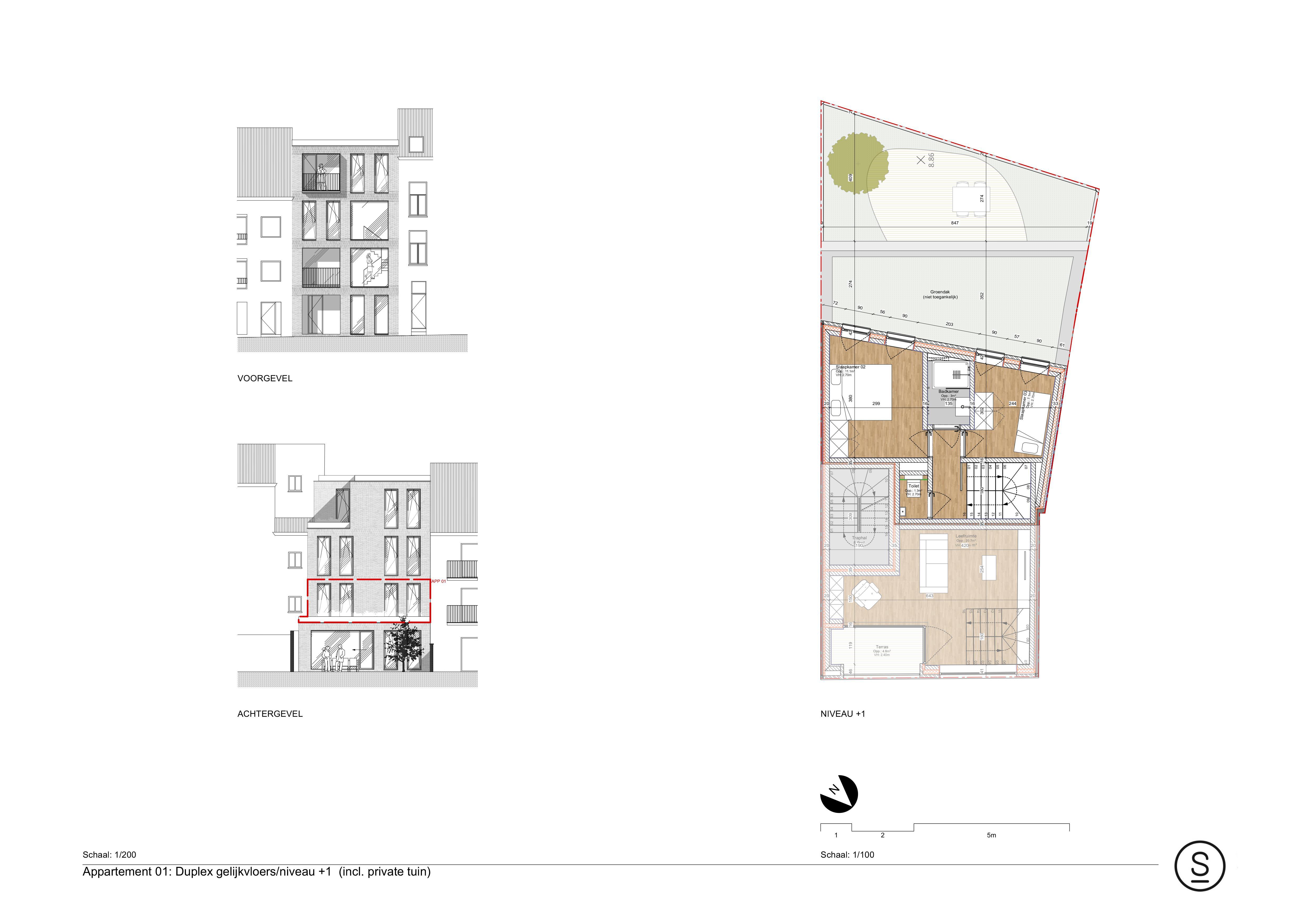 1ste verdieping duplex appartement