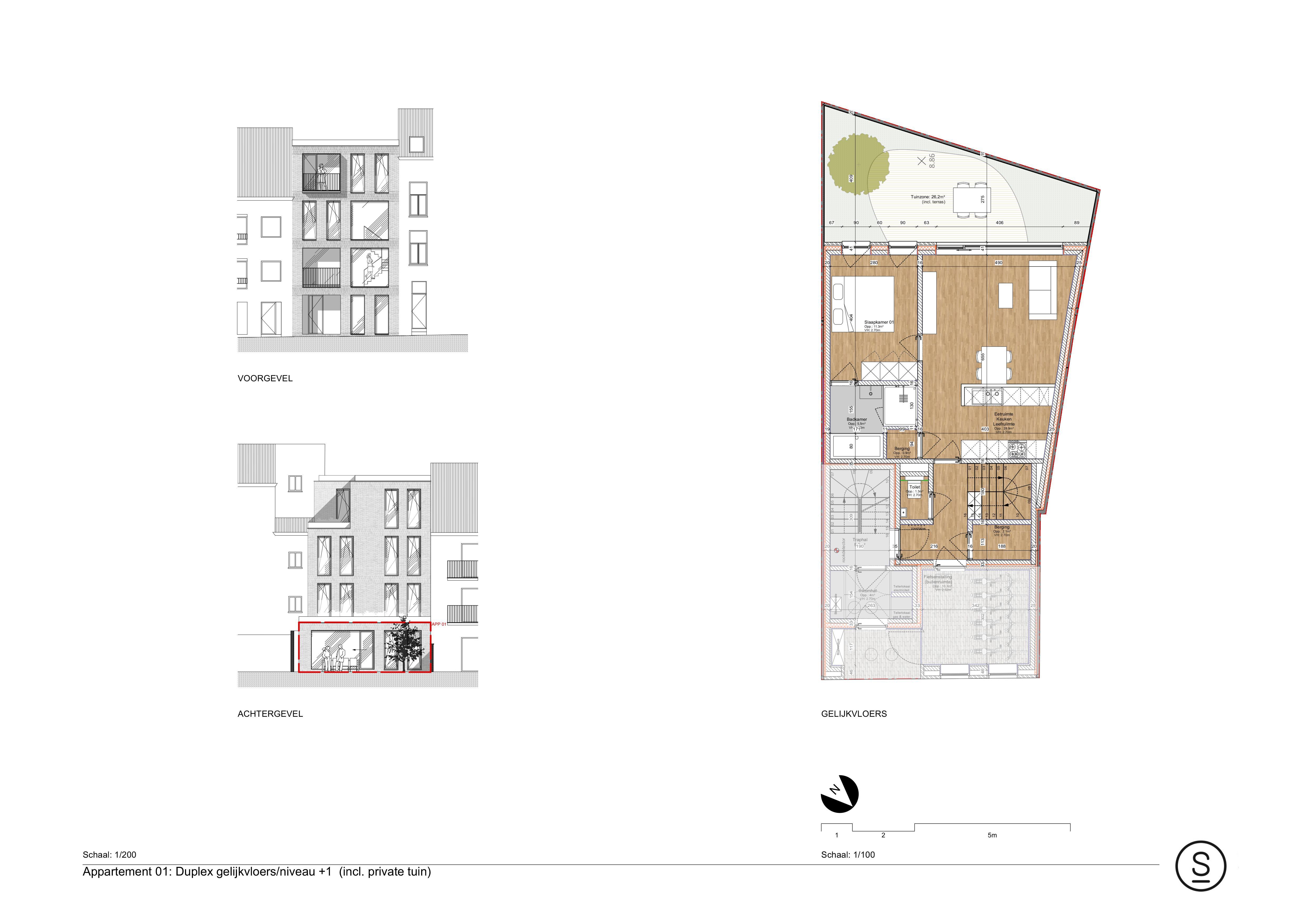 Gelijkvloers duplex appartement