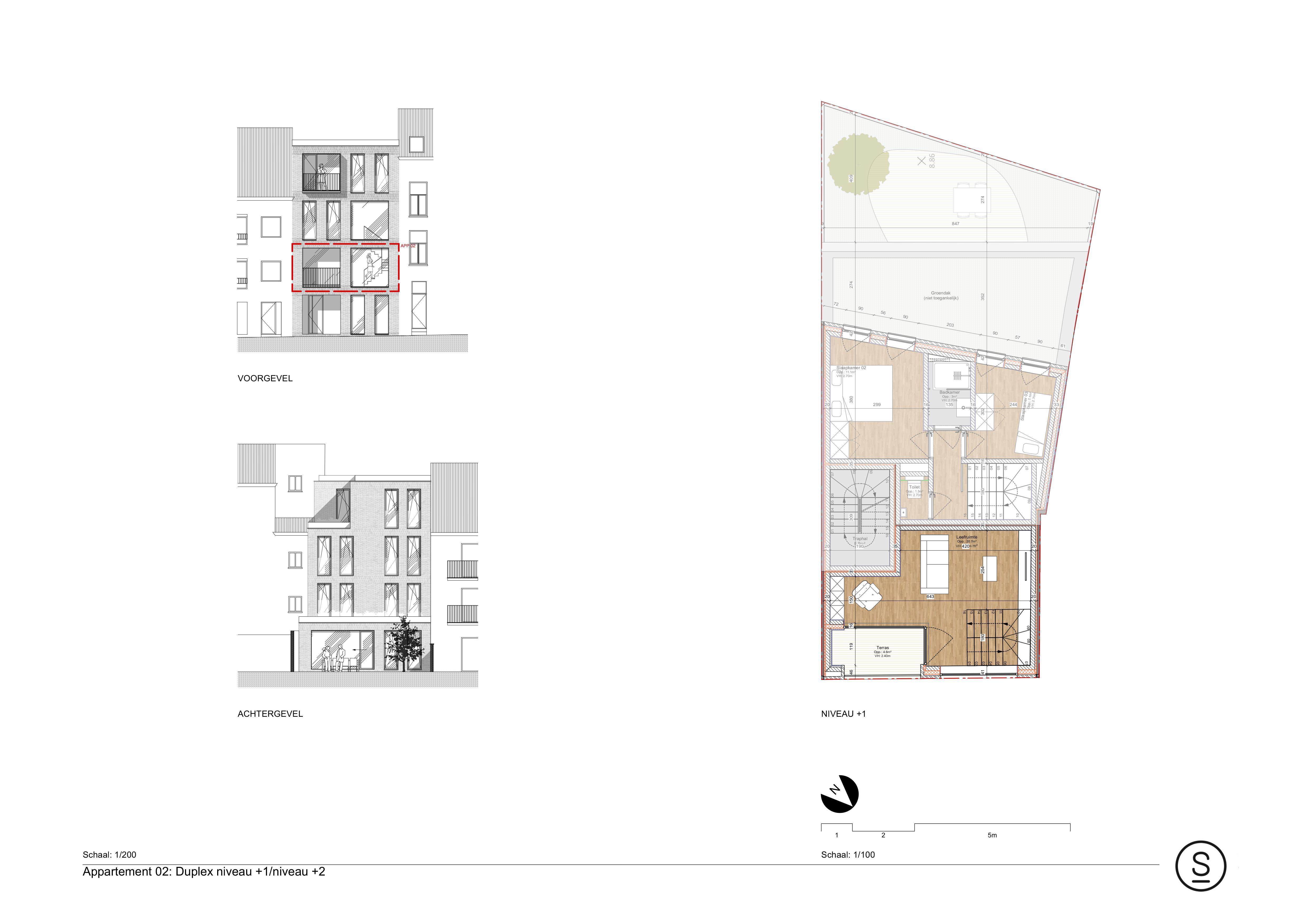 Duplexappartement 1ste verdieping